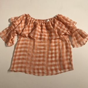 Chicwish Plaid Gingham Off Shoulder Ruffle Blouse